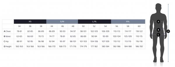 Tabela velikosti - UYN tehnično spodnje perilo