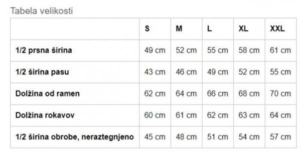 Tabela velikosti za SLOSKI ženska jopa s kapuco